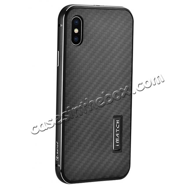 wholesale Aluminum Metal Bumper Frame Shockproof Case+Carbon Fiber Back Cover For iPhone X - Black&Black