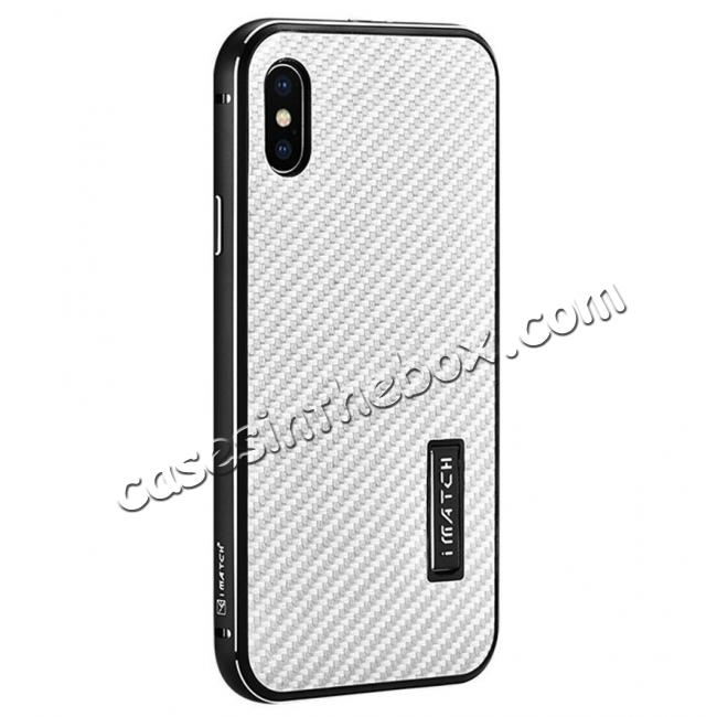 wholesale Aluminum Metal Bumper Frame Shockproof Case+Carbon Fiber Back Cover For iPhone X - Black&Silver