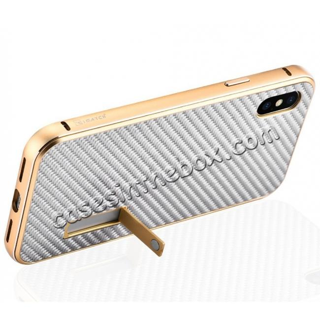 discount Aluminum Metal Bumper Frame Shockproof Case+Carbon Fiber Back Cover For iPhone X - Black&Silver
