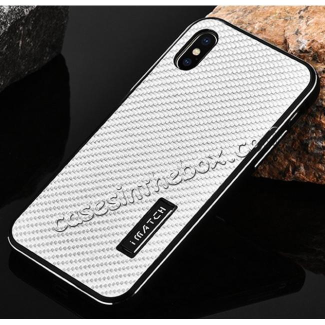 cheap Aluminum Metal Bumper Frame Shockproof Case+Carbon Fiber Back Cover For iPhone X - Black&Silver