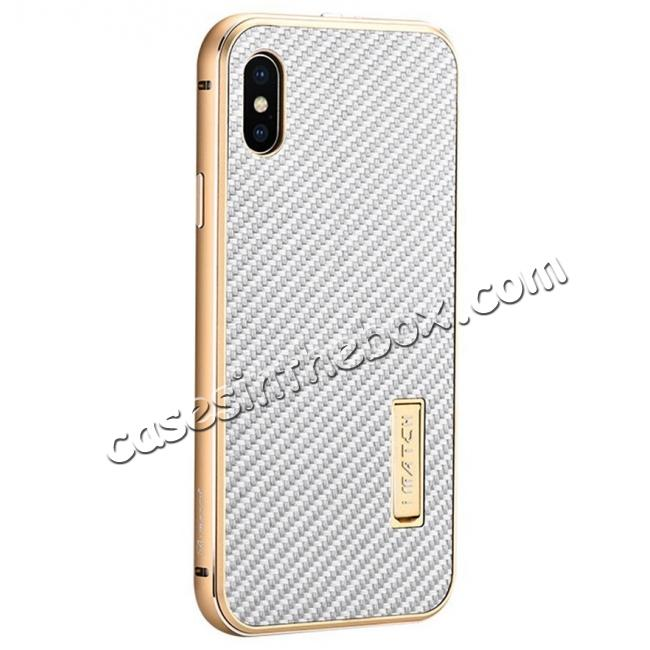 wholesale Aluminum Metal Bumper Frame Shockproof Case+Carbon Fiber Back Cover For iPhone XS / X - Gold&Silver