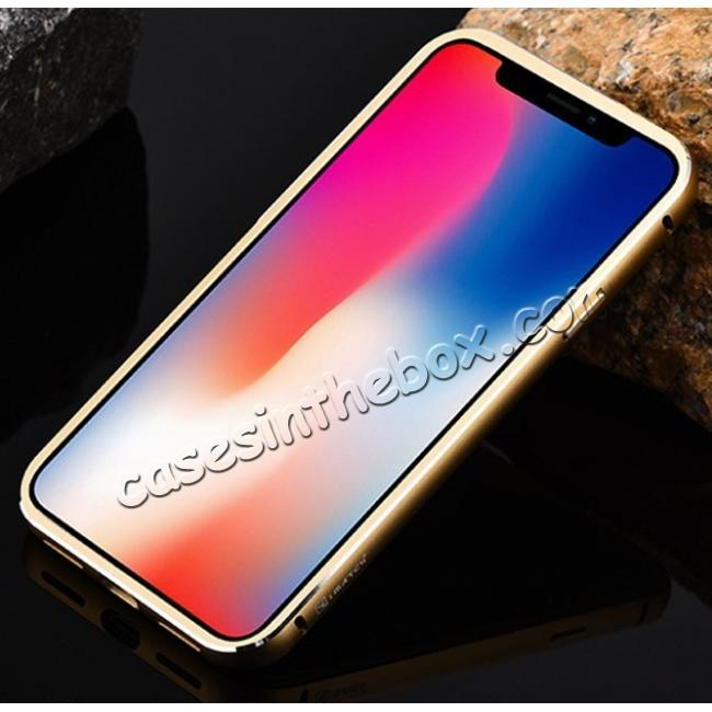 cheap Aluminum Metal Bumper Frame Shockproof Case+Carbon Fiber Back Cover For iPhone XS / X - Gold&Silver
