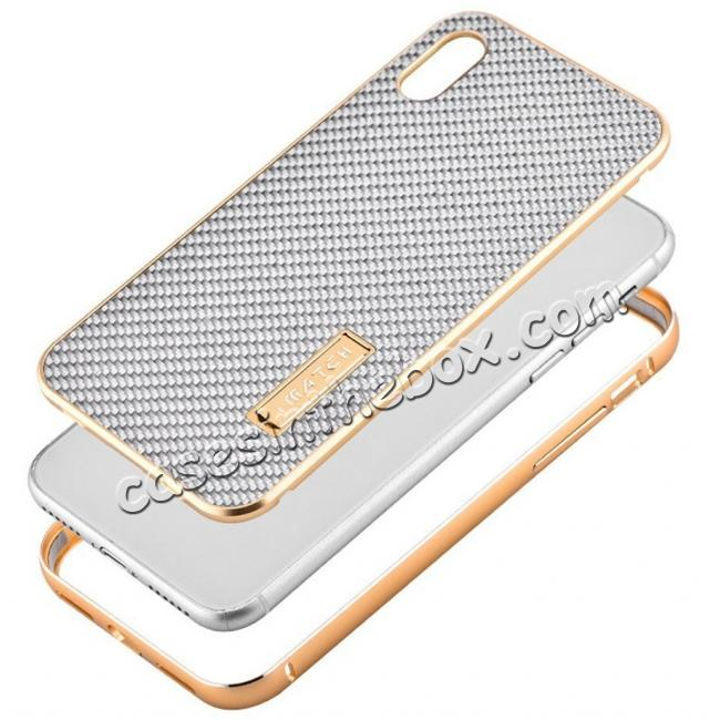 low price Aluminum Metal Bumper Frame Shockproof Case+Carbon Fiber Back Cover For iPhone X - Gold&Silver