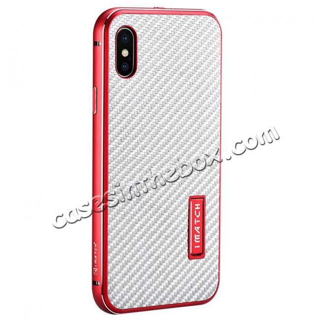wholesale Aluminum Metal Bumper Frame Shockproof Case+Carbon Fiber Back Cover For iPhone XS / X - Red&Silver