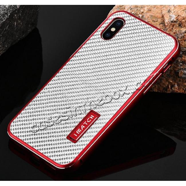 best price Aluminum Metal Bumper Frame Shockproof Case+Carbon Fiber Back Cover For iPhone XS / X - Red&Silver