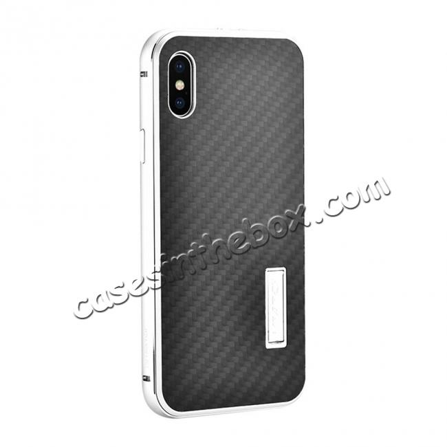 wholesale Aluminum Metal Bumper Frame Shockproof Case+Carbon Fiber Back Cover For iPhone X - Silver&Black
