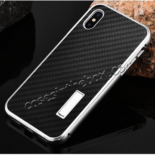 discount Aluminum Metal Bumper Frame Shockproof Case+Carbon Fiber Back Cover For iPhone X - Silver&Black