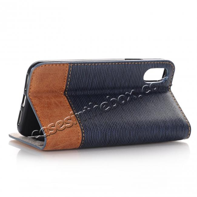 cheap Double Layer Shock Absorbing Premium Soft PU Leather Wallet Flip Case for iPhone X - Dark Blue