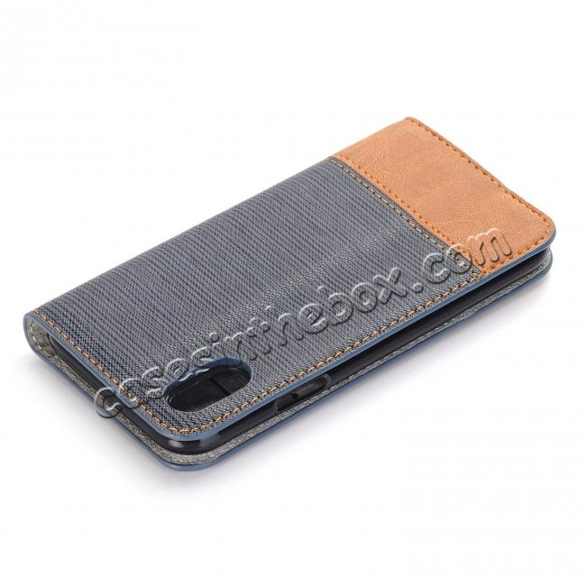 best price Double Layer Shock Absorbing Premium Soft PU Leather Wallet Flip Case for iPhone X - Dark Blue
