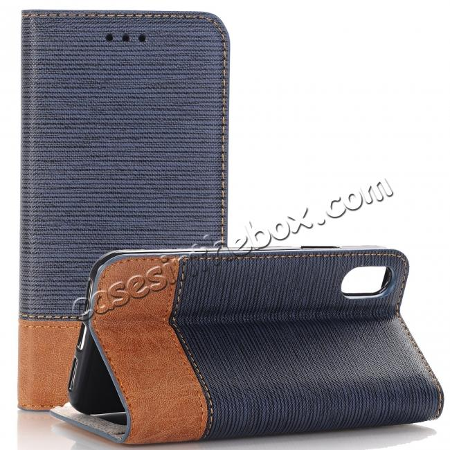 wholesale Double Layer Shock Absorbing Premium Soft PU Leather Wallet Flip Case for iPhone X - Dark Blue