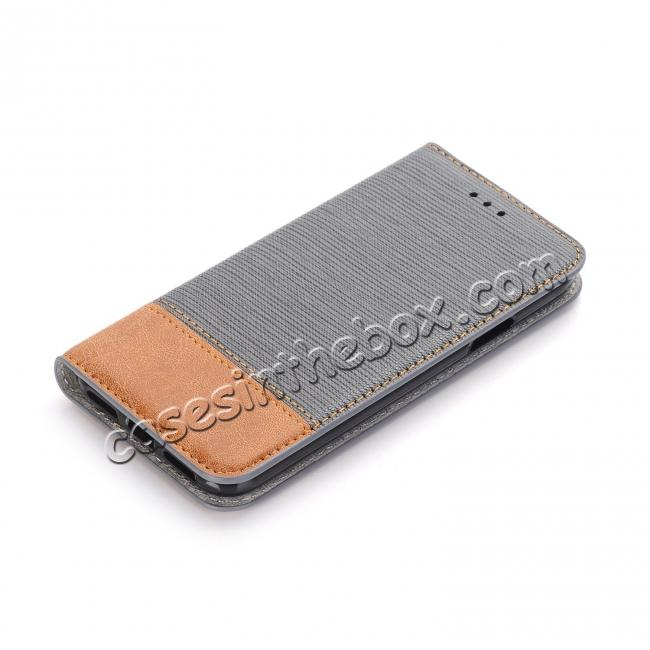 cheap Double Layer Shock Absorbing Premium Soft PU Leather Wallet Flip Case for iPhone X - Gray