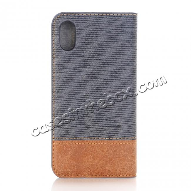 best price Double Layer Shock Absorbing Premium Soft PU Leather Wallet Flip Case for iPhone X - Gray