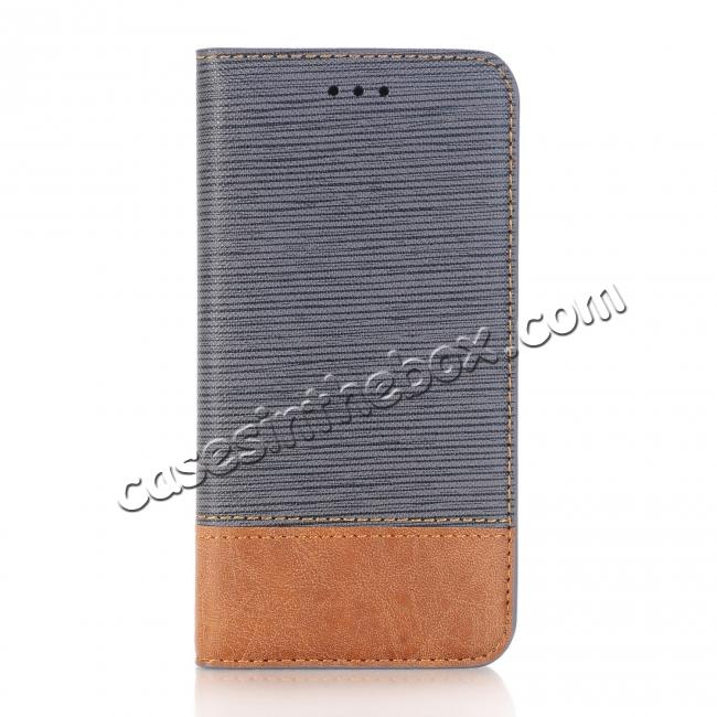 on sale Double Layer Shock Absorbing Premium Soft PU Leather Wallet Flip Case for iPhone X - Gray