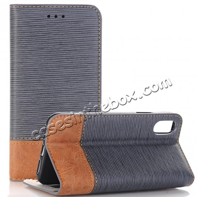 wholesale Double Layer Shock Absorbing Premium Soft PU Leather Wallet Flip Case for iPhone X - Gray