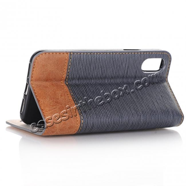 discount Double Layer Shock Absorbing Premium Soft PU Leather Wallet Flip Case for iPhone X - Gray