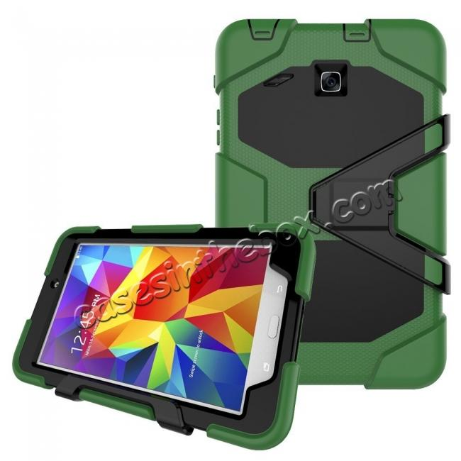 discount Hybrid Kickstand Impact Resistant Rugged Armor Case For Samsung Galaxy Tab E 8.0 - Army Green