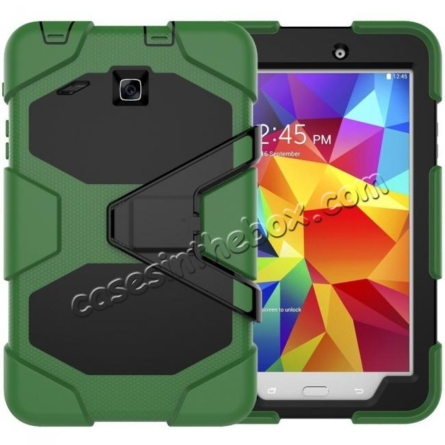 wholesale Hybrid Kickstand Impact Resistant Rugged Armor Case For Samsung Galaxy Tab E 8.0 - Army Green