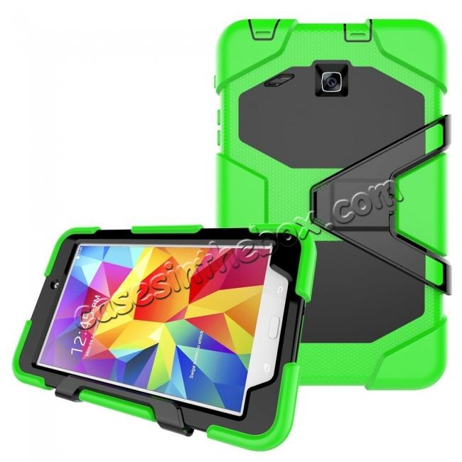 discount Hybrid Kickstand Shockproof Impact Resistant Rugged Armor Case For Samsung Galaxy Tab E 8.0 - Green