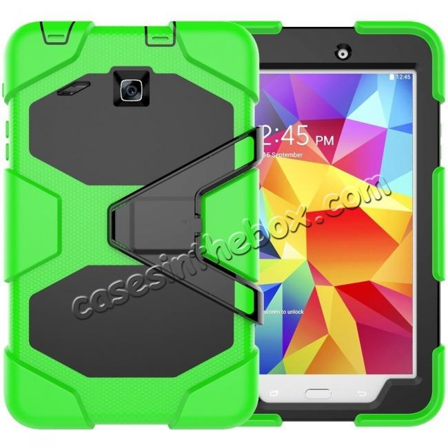 wholesale Hybrid Kickstand Shockproof Impact Resistant Rugged Armor Case For Samsung Galaxy Tab E 8.0 - Green