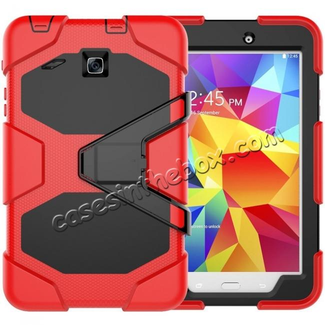 wholesale Hybrid Kickstand Shockproof Impact Resistant Rugged Armor Case For Samsung Galaxy Tab E 8.0 - Red