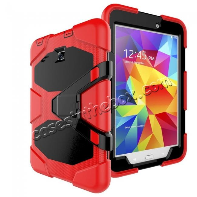 discount Hybrid Kickstand Shockproof Impact Resistant Rugged Armor Case For Samsung Galaxy Tab E 8.0 - Red