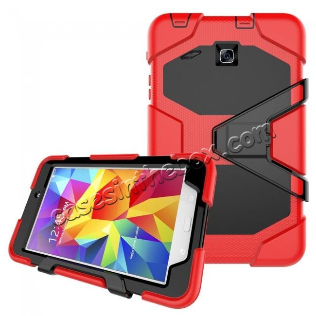 cheap Hybrid Kickstand Shockproof Impact Resistant Rugged Armor Case For Samsung Galaxy Tab E 8.0 - Red
