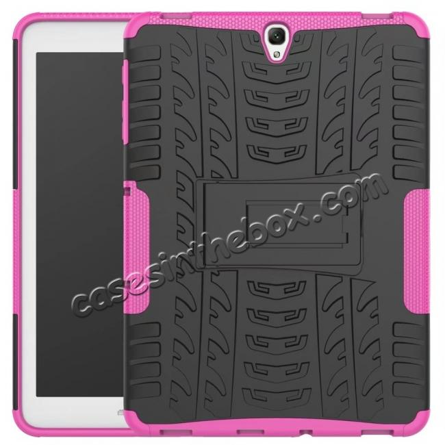 wholesale Hybrid Protection Cover Built-In Kickstand Case For Samsung Galaxy Tab S3 9.7 2017 T820 - Hot Pink