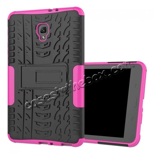 discount Hybrid Rugged Hard Case Cover with Kickstand for Samsung Galaxy Tab A 8.0 2017 T380/T385 - Hot Pink