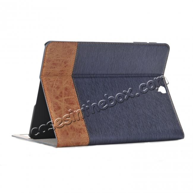 wholesale Leather Wallet Stand Folio Flip Smart Case for Samsung Galaxy Tab S3 9.7 Inch T820/T825 - Dark Blue