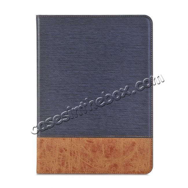 best price Leather Wallet Stand Folio Flip Smart Case for Samsung Galaxy Tab S3 9.7 Inch T820/T825 - Dark Blue