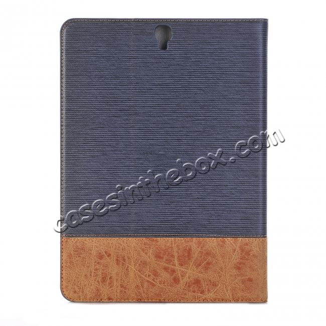 on sale Leather Wallet Stand Folio Flip Smart Case for Samsung Galaxy Tab S3 9.7 Inch T820/T825 - Dark Blue