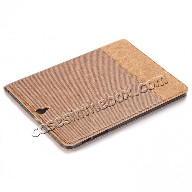 discount Leather Wallet Stand Folio Flip Smart Case for Samsung Galaxy Tab S3 9.7Inch T820/T825 - Light Brown