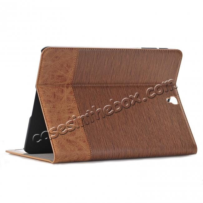 wholesale Leather Wallet Stand Folio Flip Smart Case for Samsung Galaxy Tab S3 9.7Inch T820/T825 - Light Brown
