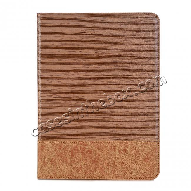 on sale Leather Wallet Stand Folio Flip Smart Case for Samsung Galaxy Tab S3 9.7Inch T820/T825 - Light Brown