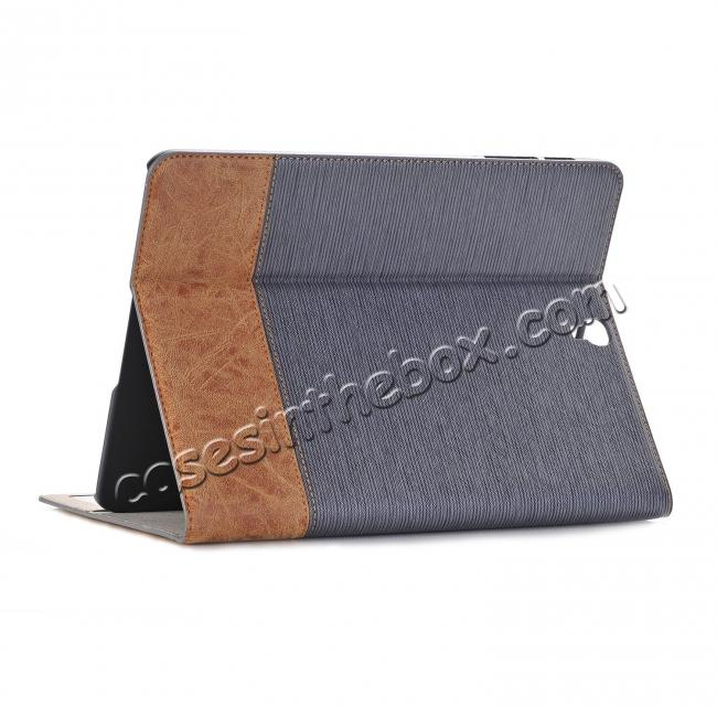 wholesale Leather Wallet Stand Folio Flip Smart Cover Case for Samsung Galaxy Tab S3 9.7 Inch T820/T825 - Grey