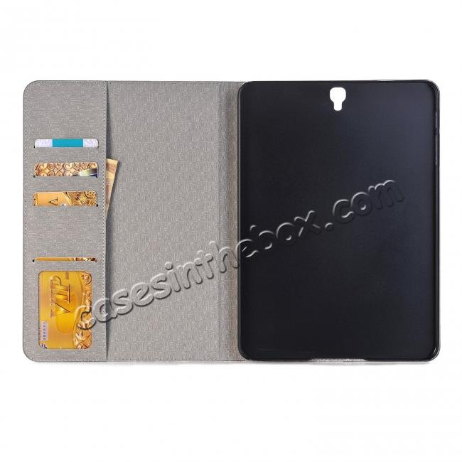 cheap Leather Wallet Stand Folio Flip Smart Cover Case for Samsung Galaxy Tab S3 9.7 Inch T820/T825 - Grey