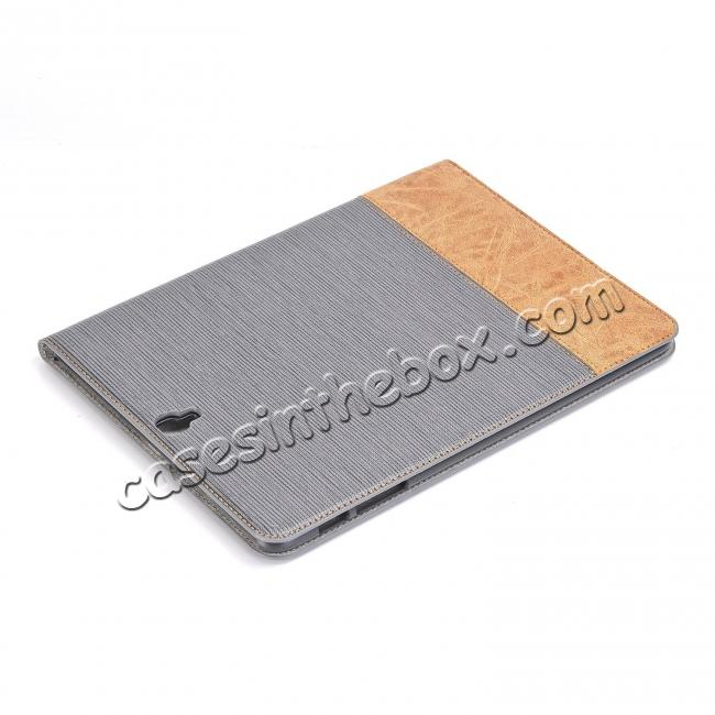 top quality Leather Wallet Stand Folio Flip Smart Cover Case for Samsung Galaxy Tab S3 9.7 Inch T820/T825 - Grey
