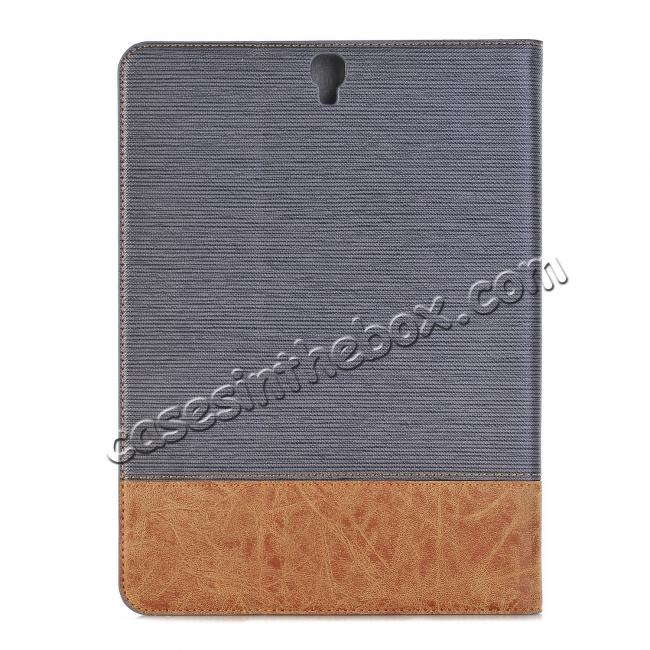 best price Leather Wallet Stand Folio Flip Smart Cover Case for Samsung Galaxy Tab S3 9.7 Inch T820/T825 - Grey