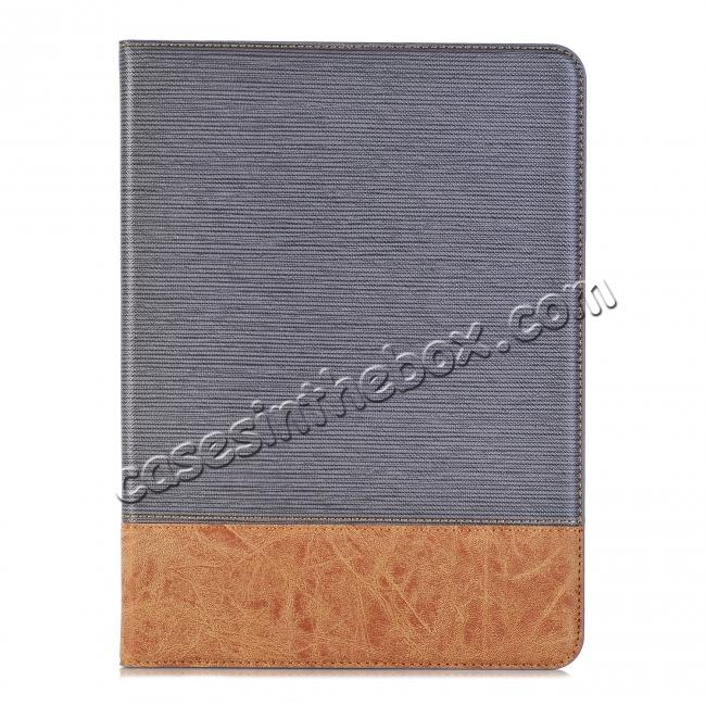 on sale Leather Wallet Stand Folio Flip Smart Cover Case for Samsung Galaxy Tab S3 9.7 Inch T820/T825 - Grey