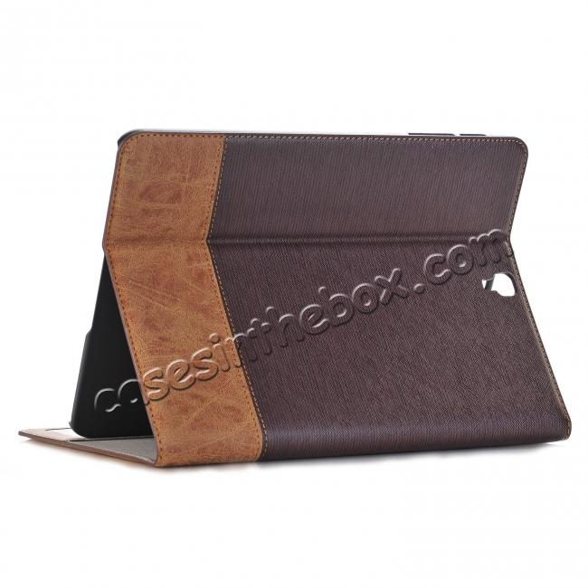 wholesale Leather Wallet Stand Folio Flip Smart Cover Case for Samsung Galaxy Tab S3 9.7Inch T820/T825 - Brown