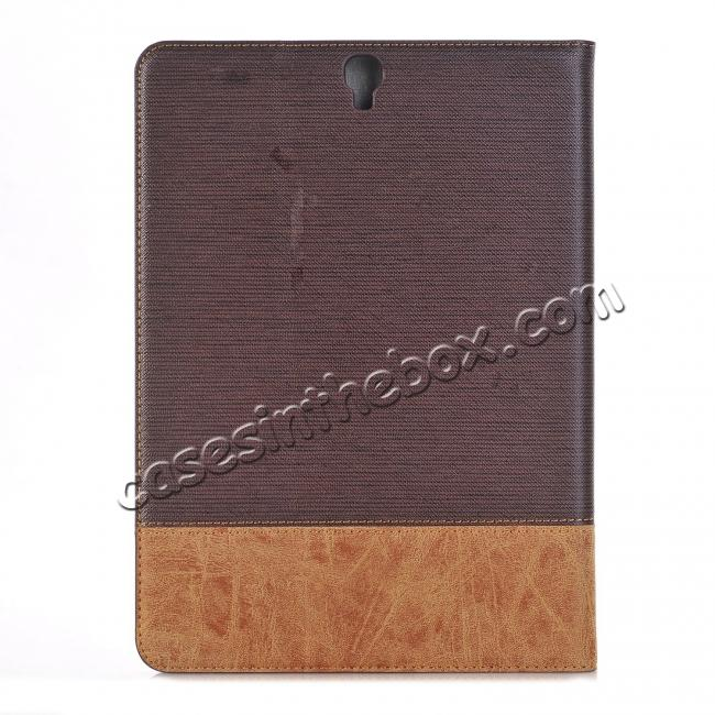best price Leather Wallet Stand Folio Flip Smart Cover Case for Samsung Galaxy Tab S3 9.7Inch T820/T825 - Brown