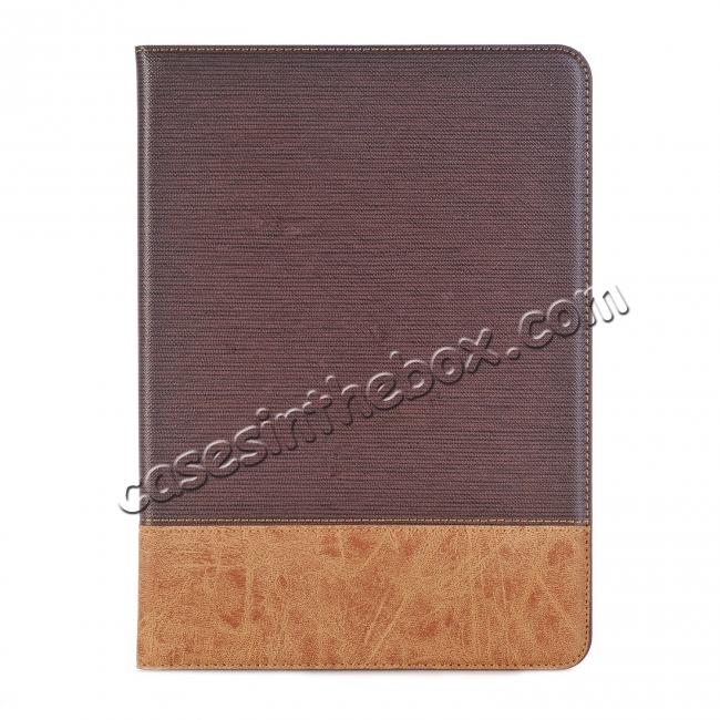 on sale Leather Wallet Stand Folio Flip Smart Cover Case for Samsung Galaxy Tab S3 9.7Inch T820/T825 - Brown