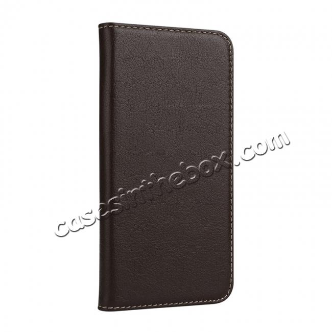 discount Luxury Genuine Cow Leather Card Slot Slim Flip Case for iPhone X 8 7 6s Plus - Coffee