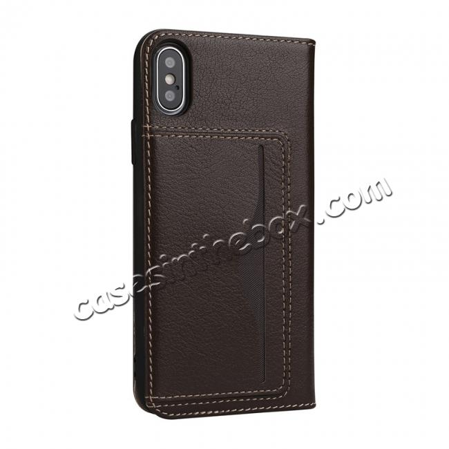 cheap Luxury Genuine Cow Leather Card Slot Slim Flip Case for iPhone X 8 7 6s Plus - Coffee