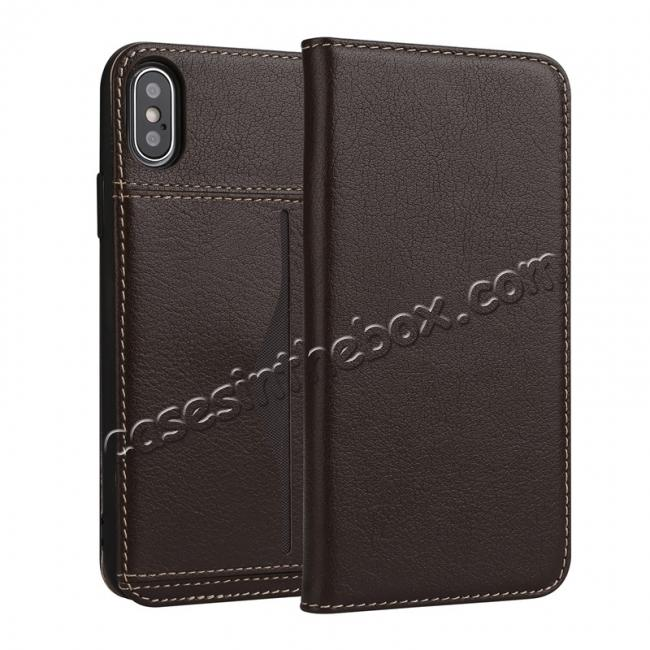 wholesale Luxury Genuine Cow Leather Card Slot Slim Flip Case for iPhone X 8 7 6s Plus - Coffee