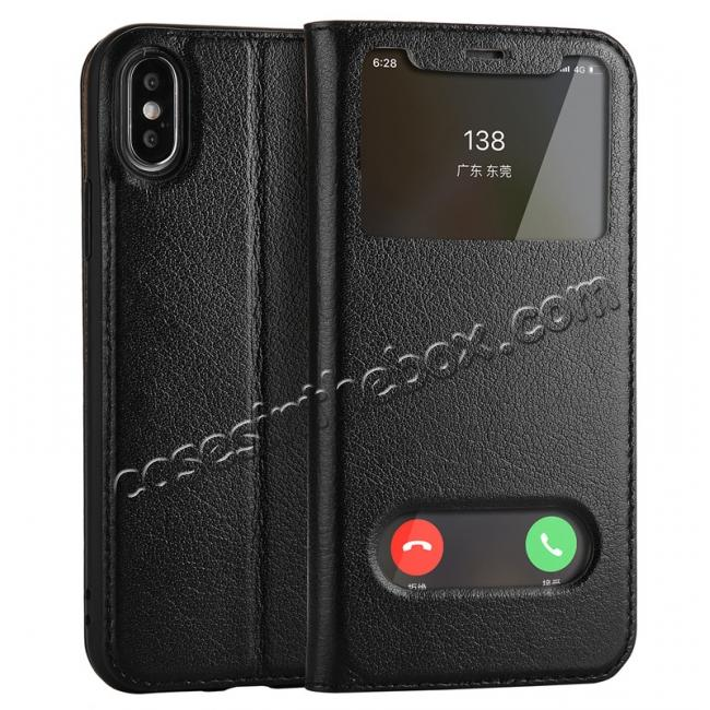 wholesale Luxury Genuine Leather Stand Case Dual Window View for iPhone X - Black