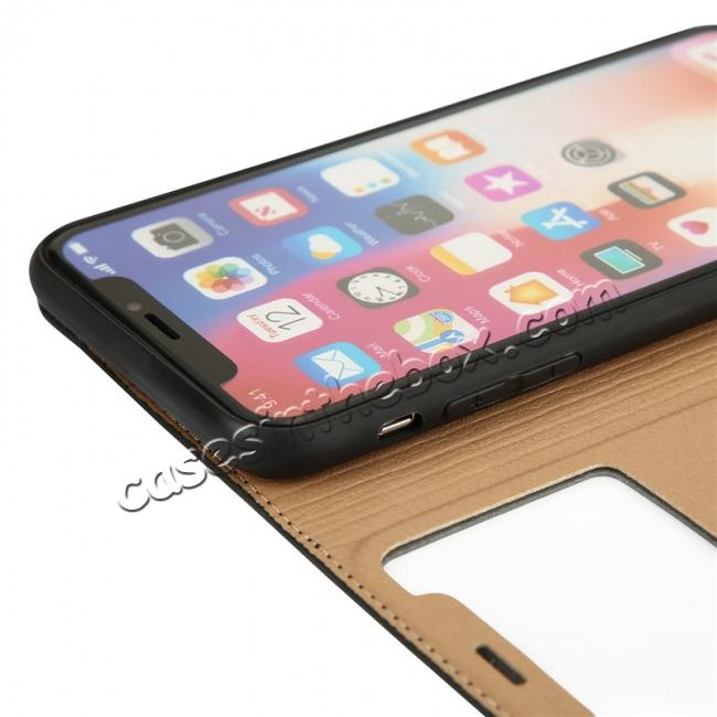 high quanlity Luxury Genuine Leather Stand Case Dual Window View for iPhone X - Black
