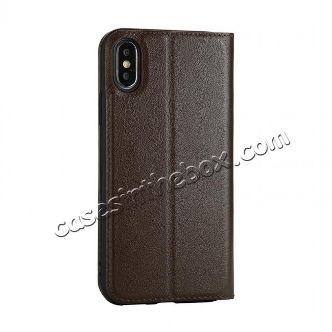 cheap Luxury Genuine Leather Stand Case Dual Window View for iPhone X - Coffee