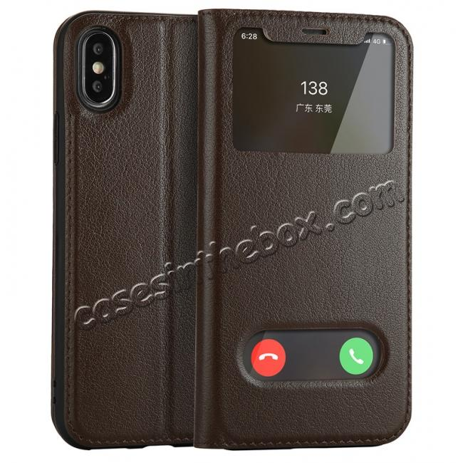 wholesale Luxury Genuine Leather Stand Case Dual Window View for iPhone X - Coffee