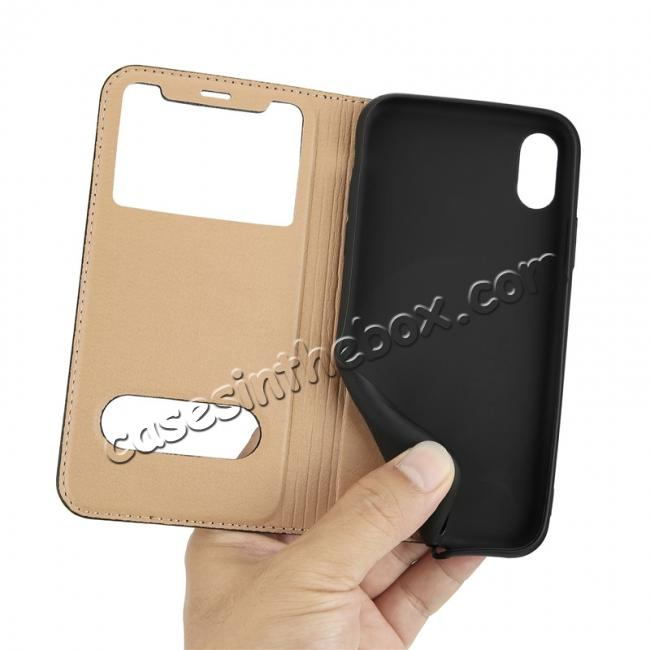 low price Luxury Genuine Leather Stand Case Dual Window View for iPhone X - Coffee